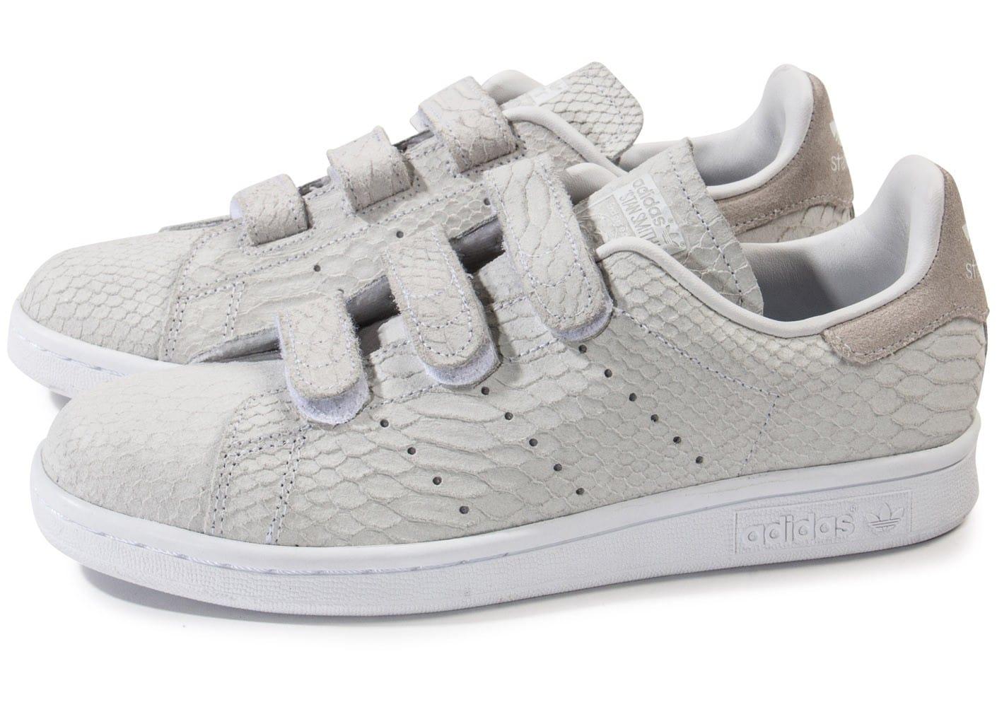 100% Authentique adidas stan smith velcro grise Outlet en ligne