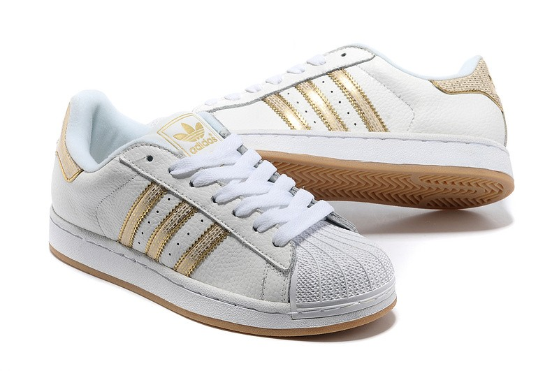 adidas baskets superstar femme blanc et or