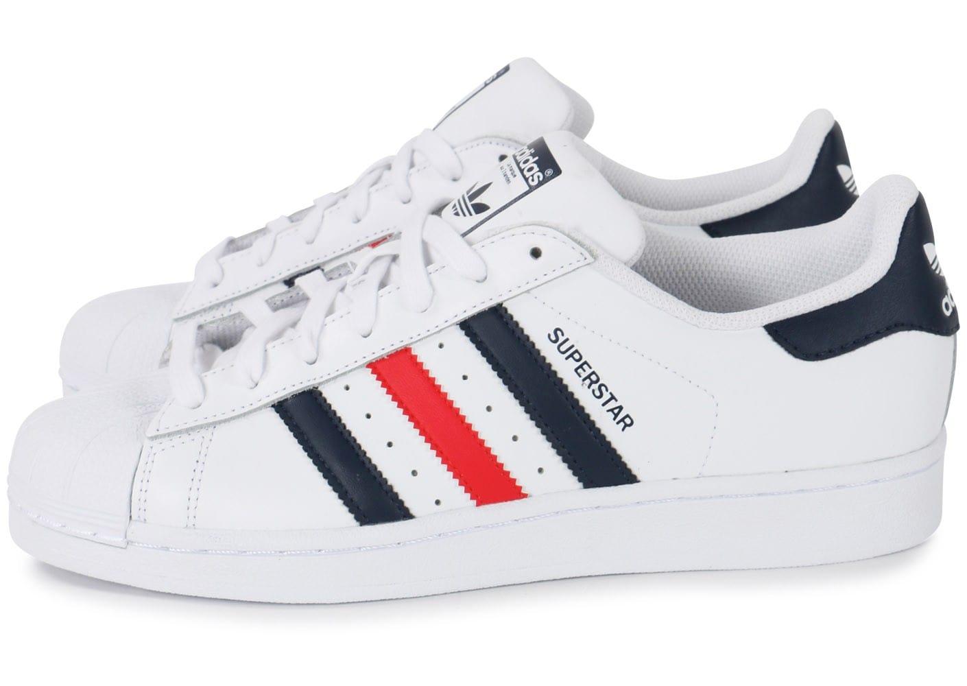 100% Authentique adidas superstar homme bleu blanc rouge