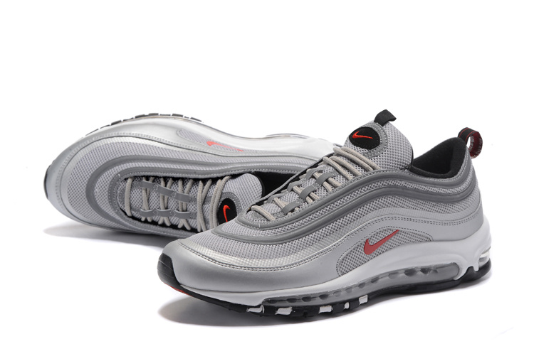 100% Authentique air max 97 gris et rouge Outlet en ligne